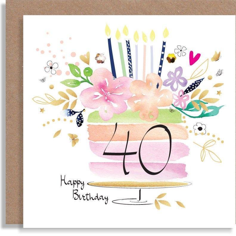 40th 50th 60th Age Birthday Cake Watercolour Handmade Etsy Watercolor Birthday Cards Handmade Greeting Card Designs Birthday Card Drawing