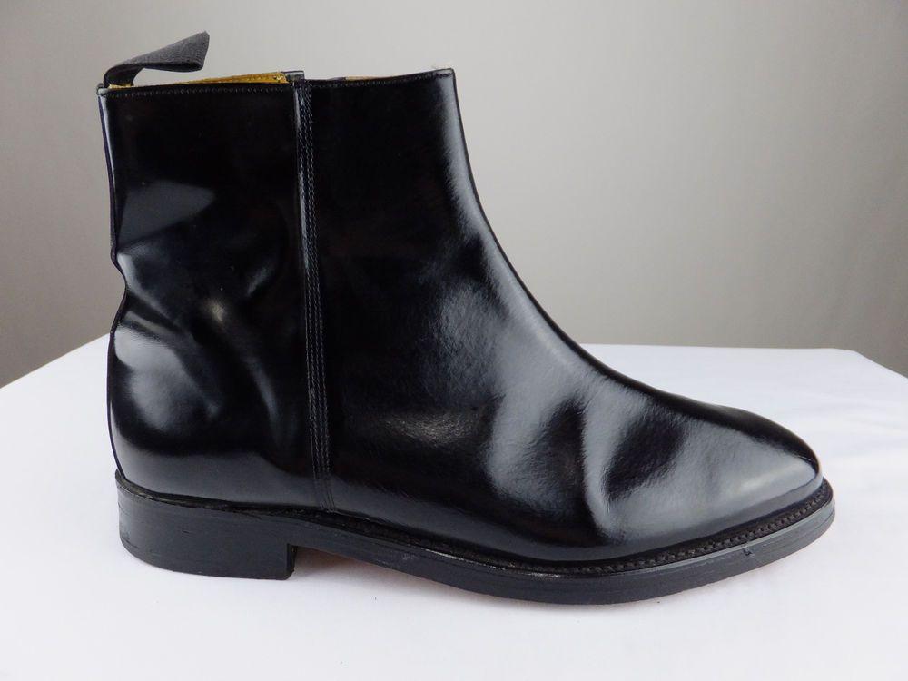 Barker England Chelsea Zip Leather Black Chukka Boot Shoe Men UK 9 US 9.5  EU 42