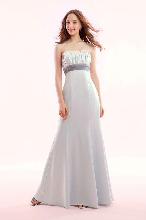 White Strapless Bridesmaid Dress