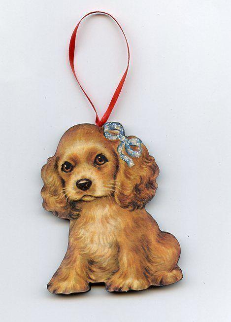 christmas cocker spaniel dog puppy glittered tree ornament. Black Bedroom Furniture Sets. Home Design Ideas