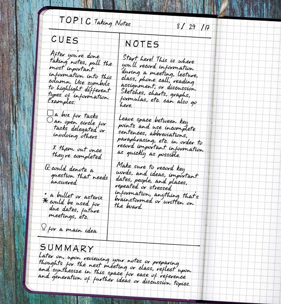 Student Planner Note Taking Bullet Journal Stencil Cornell Notes