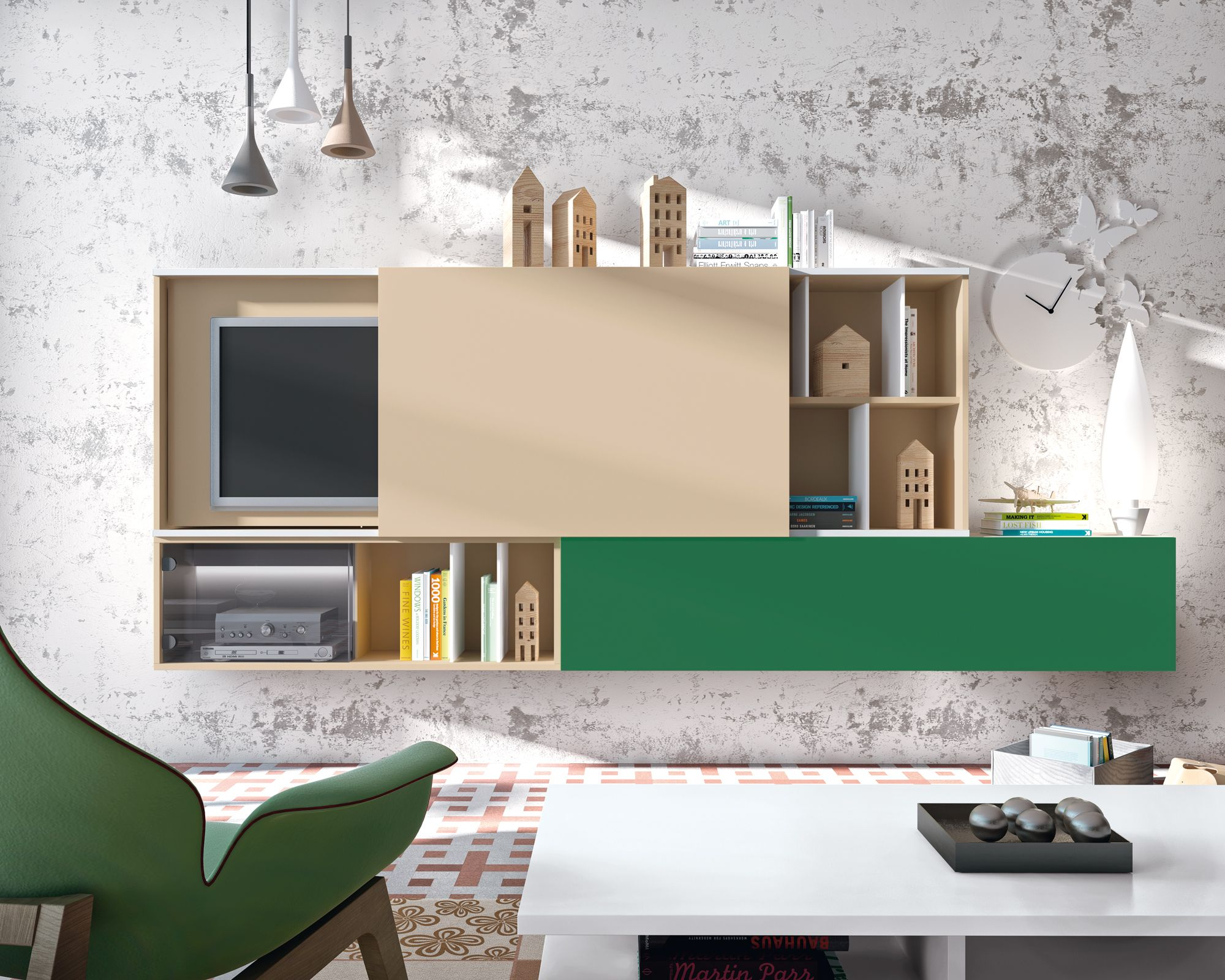 Disfruta del mueble de dise o composici n modular basada for Mueble ocultar tv