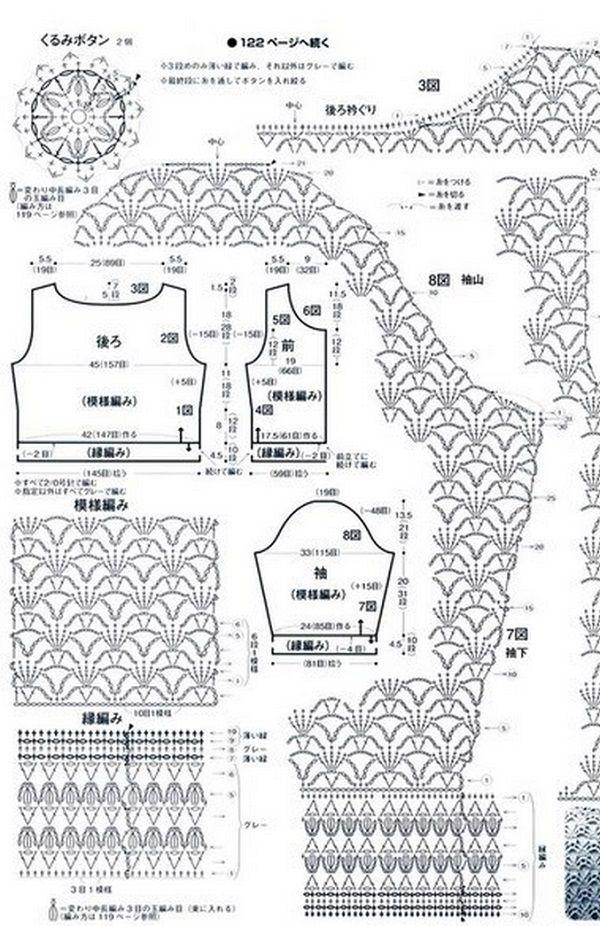Схема ажурного жакета | gif | Pinterest | Tejido, Moda crochet y Chanel
