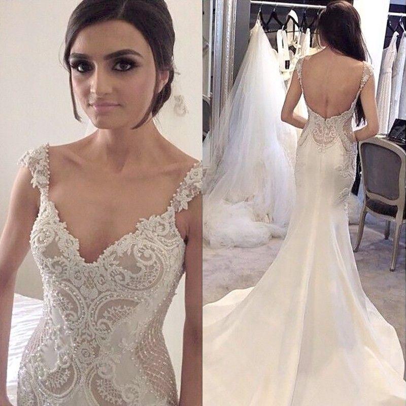 Mermaid V-Neck Long Satin Backless Wedding Dress with ...