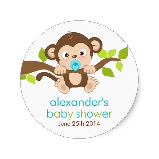 Baby Shower Boy Monkey ~ Cute little monkey boy baby shower sticker