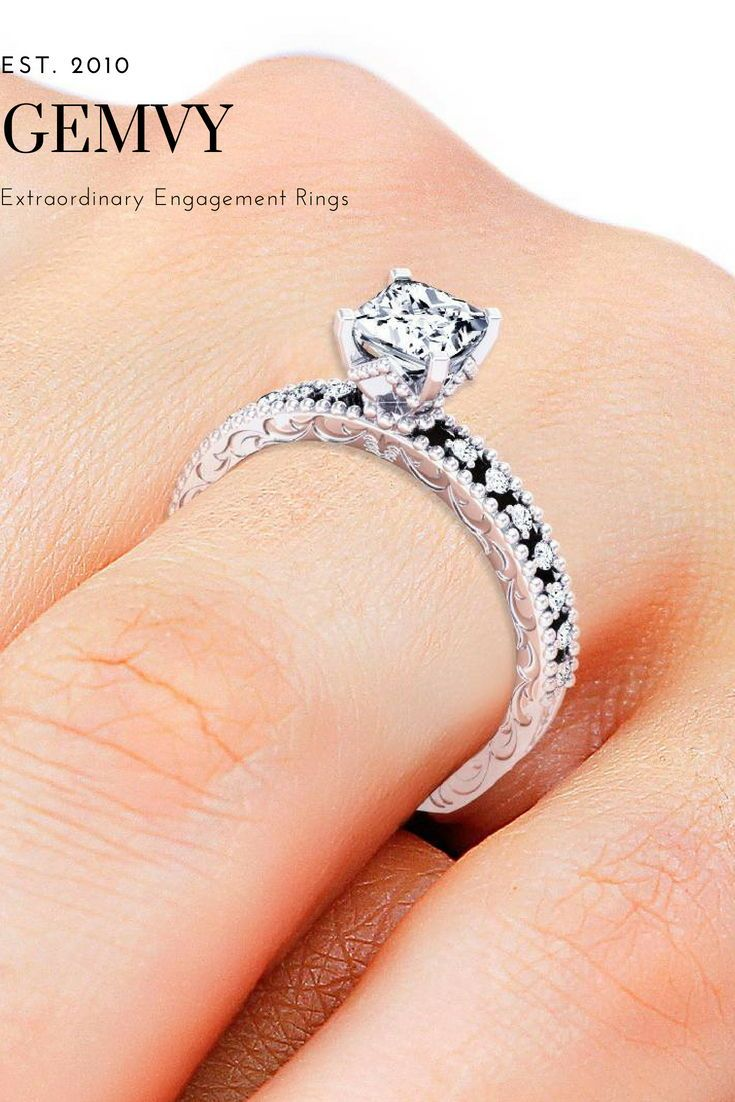 Princess pave diamond engagement ring rings pinterest