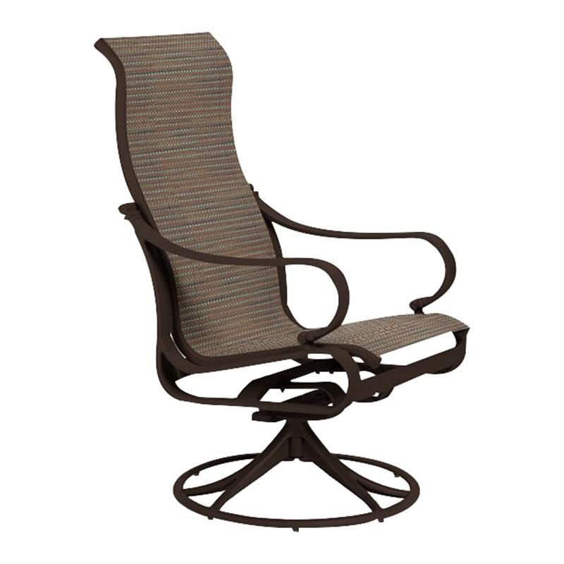 Tropitone Torino Sling High Back Swivel Rocker In Rich Earth Nebraska Furniture Mart Nebraska Furniture Mart Furniture Tropitone High back swivel rocker patio chairs
