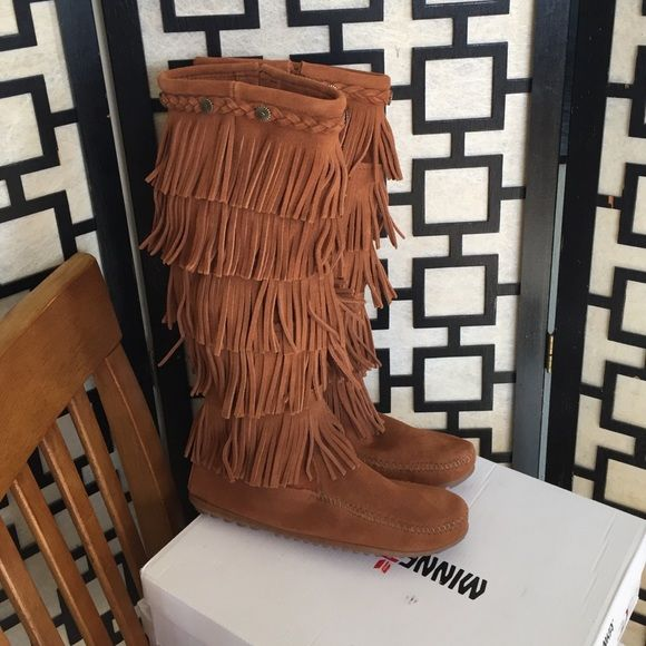 Minnetonka five layer brown fringe boots Boutique | Brown, Boots ...