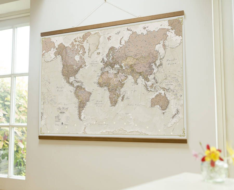 Antique Map Of The World Wall Hanging  Antique maps Wall