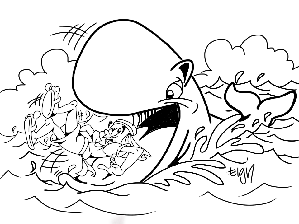 This Cartoon Illustration Of Jonah And The Whale Could Be Used As A Teaching Illustration For Y Whale Coloring Pages Jonah And The Whale Bible Coloring Pages