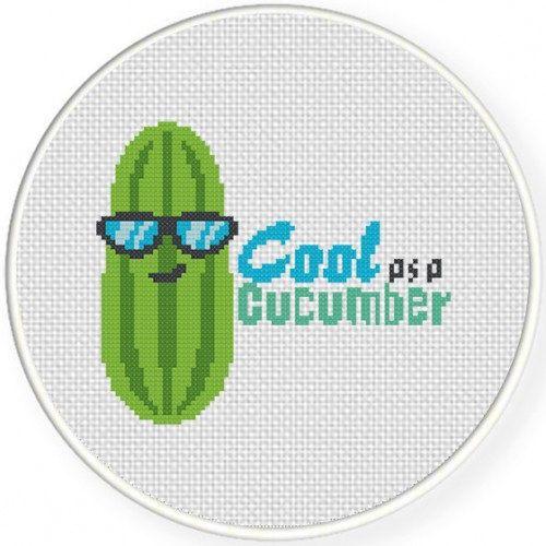 Cool Cucumber Handmade Unframed Cross Stitch Cool As A