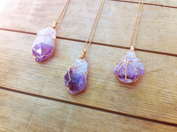 Photo of Items similar to Amethyst Point Pendant / February Birthstone Crystal Necklace / Wire Wrapped Purple Mineral Stone on Etsy