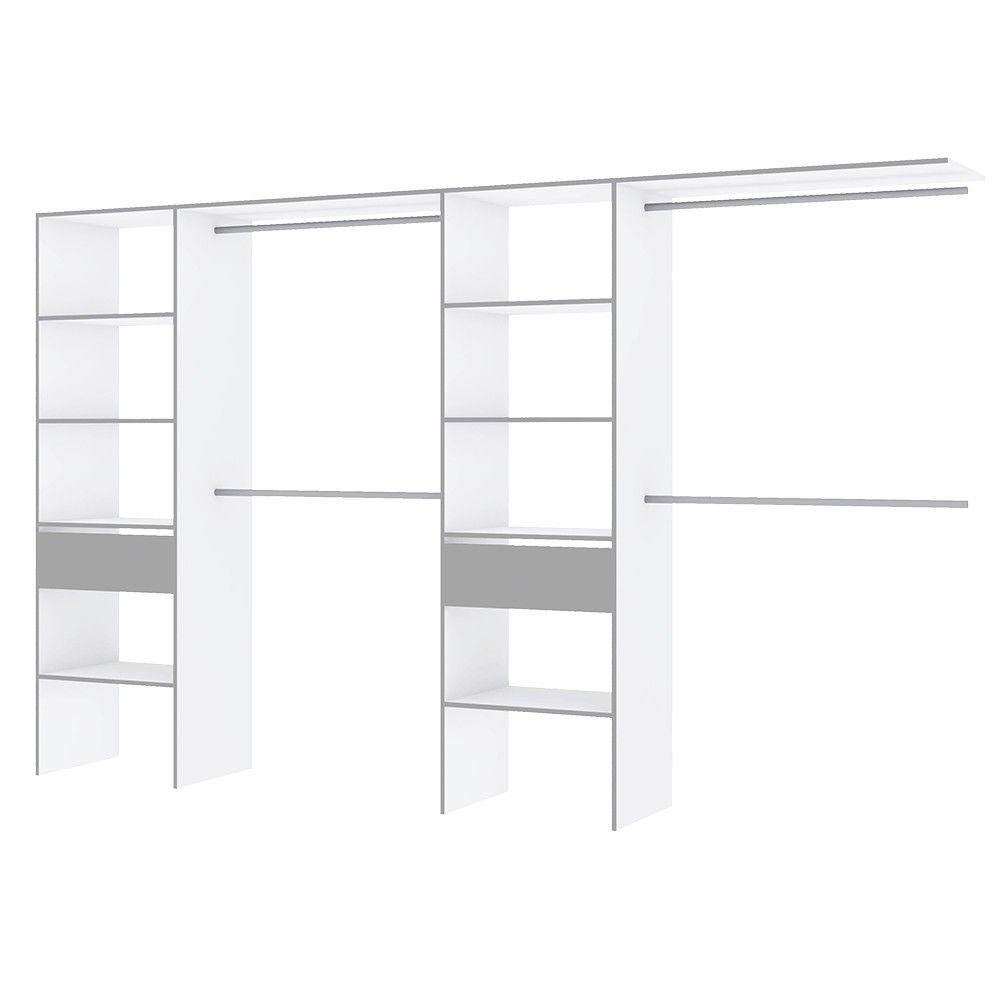 Kit Dressing Vincti Blanc Et Gris 12 étagères Et 4 Tringles