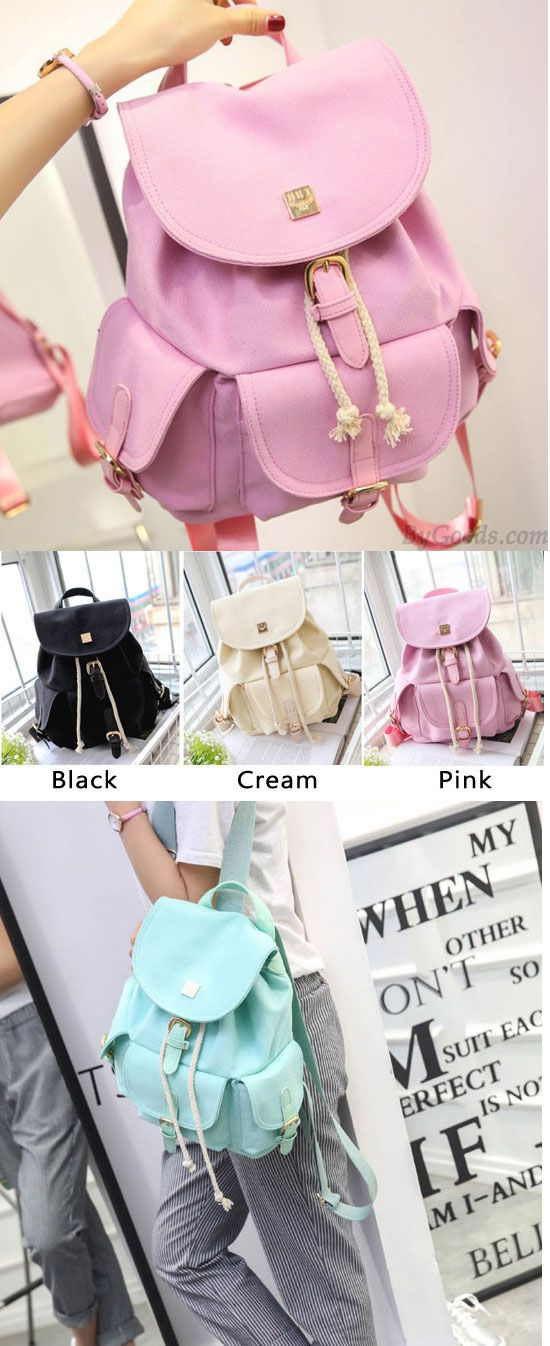 d7e3de2014 Sweet Candy Canvas College Rucksack Mint Green Pure Color Girls Backpack  for big sale!  green  pure  rucksack  school  bag  college