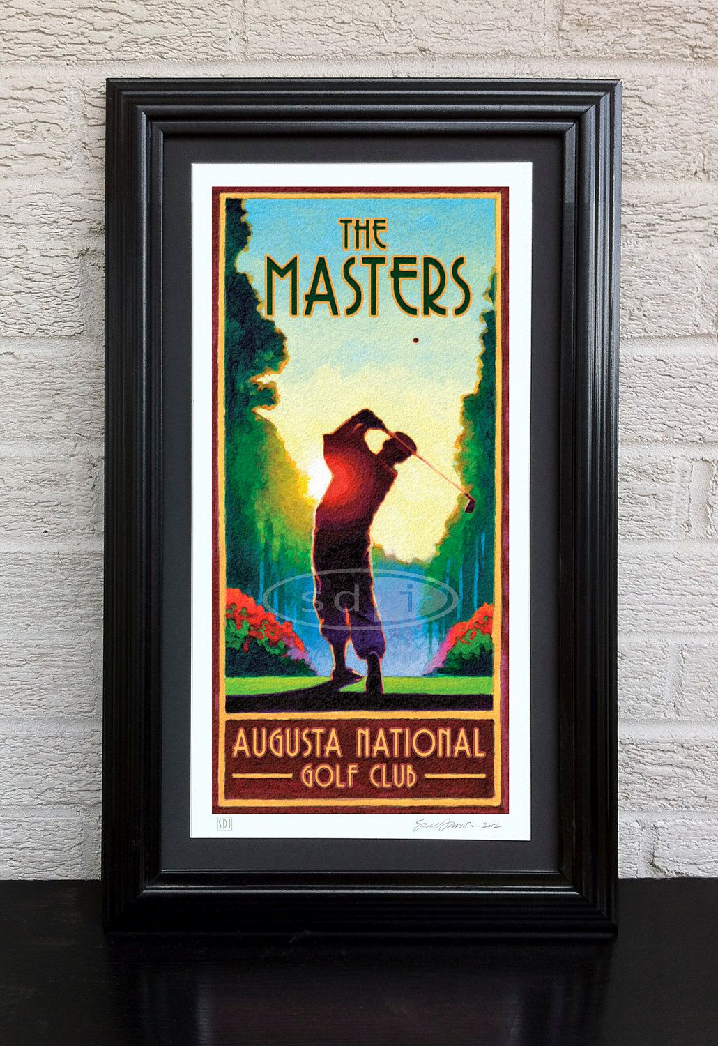 Masters Golf art golf gift sports poster print painting | Pinterest