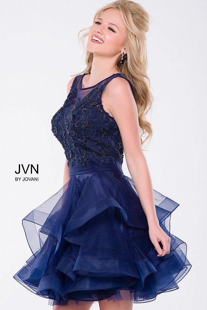 Navy Sleeveless Tiered Short Dress #JVN47388 #partydress ...