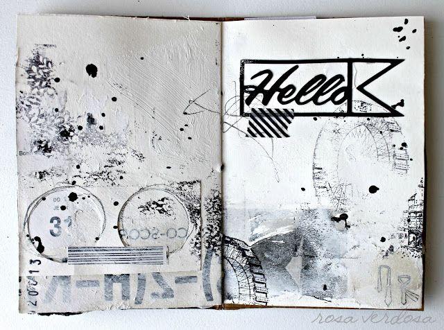 Rosa verdosa art journal mix media scrapbook black and white