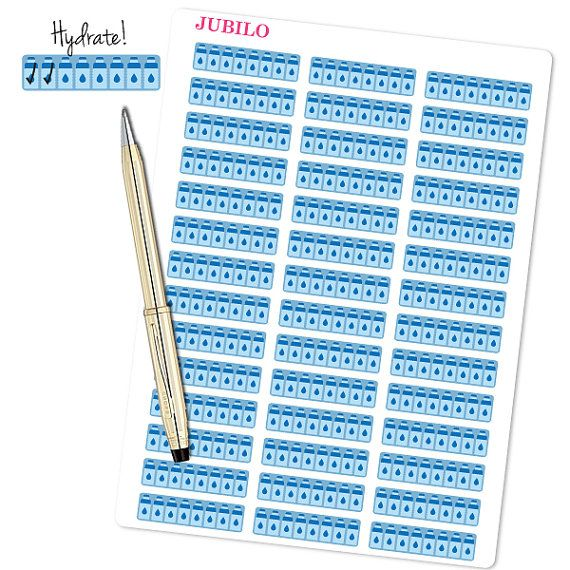 "Planner Stickers Hydrate Tracker  Each sticker sheet is 7.5"" x 5.5""  Each sticker is 1.5 x 0.38 - fits EC planner perfectly.  The stickers"