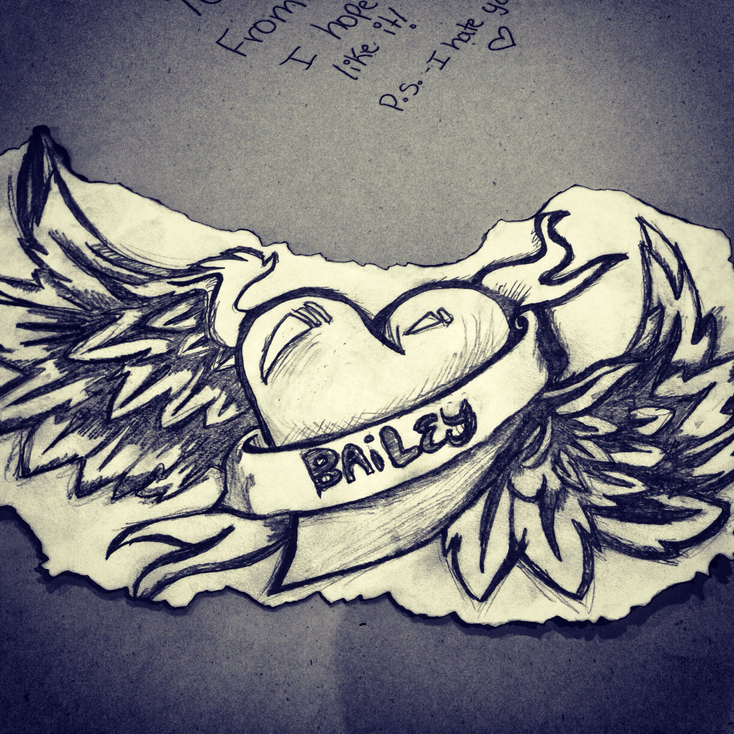 I Drew This For My Anniversay For My Boyfriend, Heart With Wings Drawing