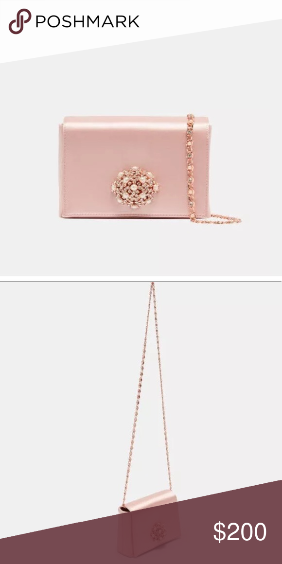 959c3ad9497 Ted baker pink embellished brooch clutch bag Pink satin clutch with embellished  brooch Ted Baker Bags Clutches & Wristlets