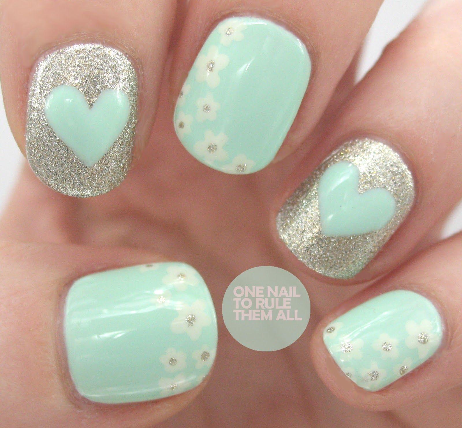 Heart nails | Manicure | Pinterest | Menta, Manicuras y Diseños de uñas