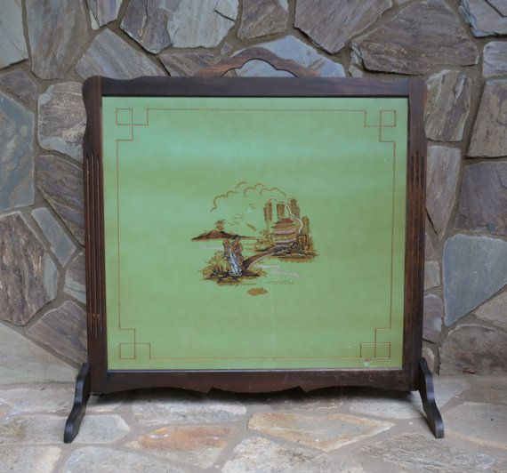 Vintage hand painted fireplace screenvintage oriental home dcor vintage hand painted fireplace screen antique by vintassentials teraionfo