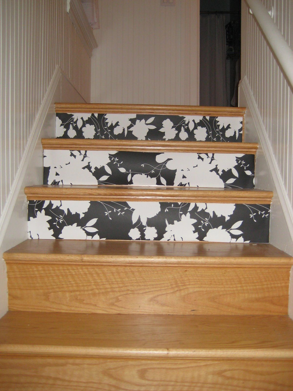 wallpapering stairs.... great idea Wallpaper stairs