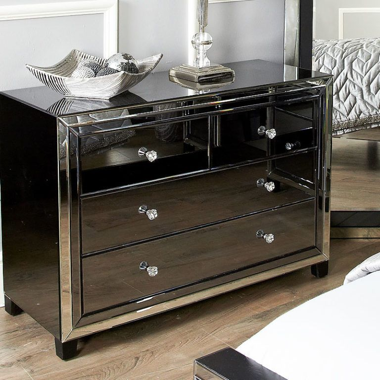 Large Arctic Noir Black Smoked Glass Mirrored 4 Drawer Chest Of Drawer Trending Decor Stunning Sideboard Industrial Style Furniture