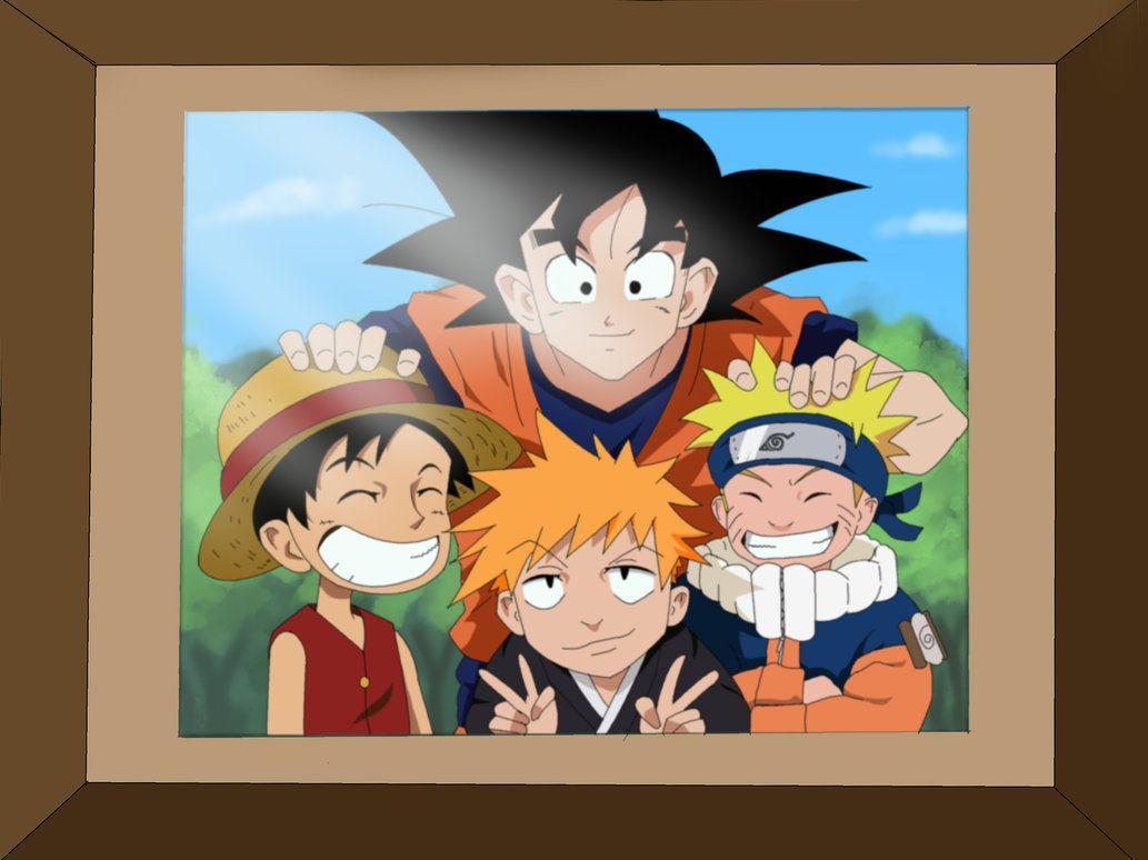 Goku With Luffy Ichigo And Naruto Personagens De Anime Naruto Manga Colorido Fanarts Anime