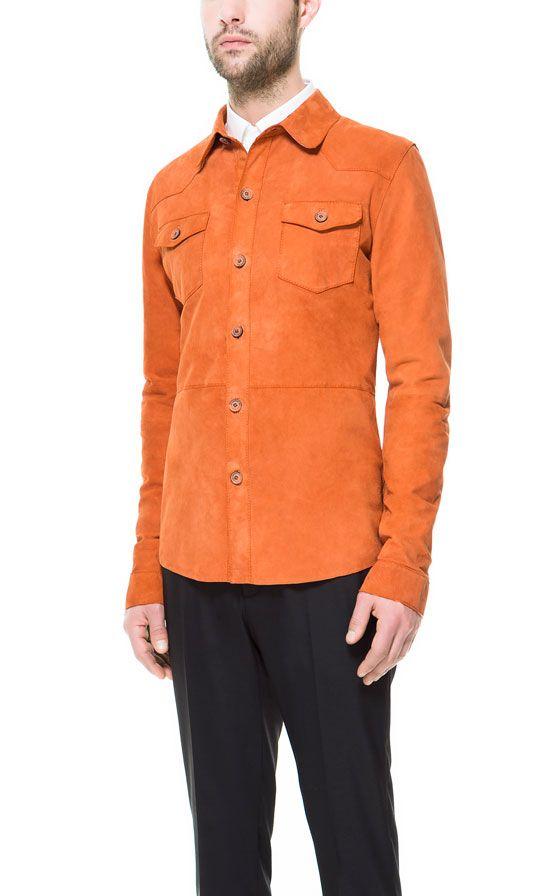 1fbcb652a3f ZARA Men s suede over shirt in orange.