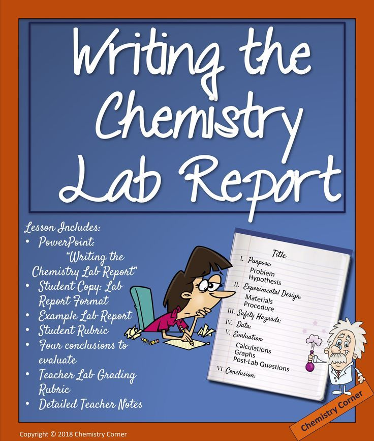 Writing the Chemistry Lab Report Awesome Chemistry Resources