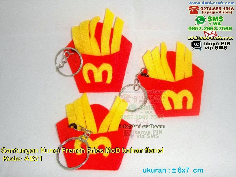 Gantungan Kunci French Fries Mcd Bahan Flanel (Dengan