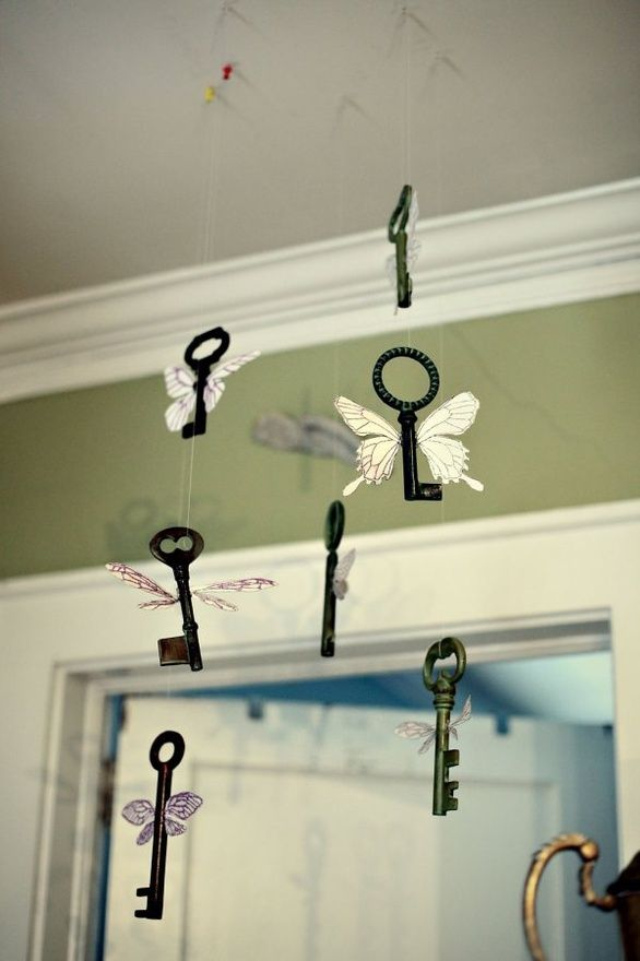 Winged keys mobile...for the HP kids room that Ive been planning in my head for years. home-love