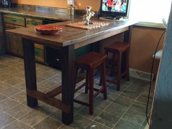 Counter height farm house table kitchen tutorials pinterest farm house farming and house - Kitchen bar table ideas ...