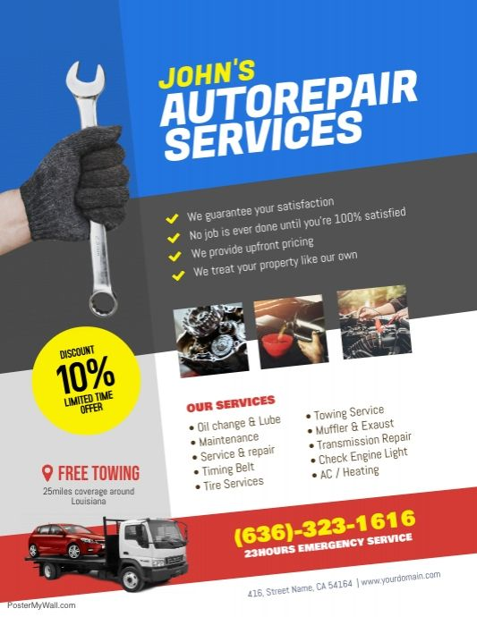 Auto Repair Service Flyer Poster Template | Car repair ...