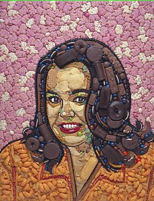 Rosie ODonnell X Collage Made Of Cookies Candies And - 24 amazing celebrity portraits made using unusual materials