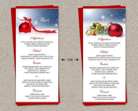 Diy Printable Holiday Dinner Party Menus And Christmas Menu