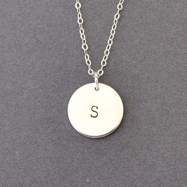 Sterling silver initial coin necklace me likes pinterest sterling silver initial coin necklace aloadofball Images