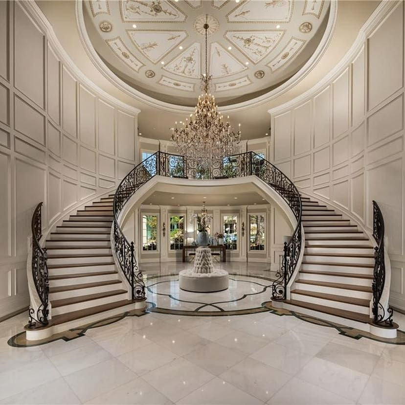 Best Gorgeous Double Staircase Foyer Foyers Staircase 400 x 300