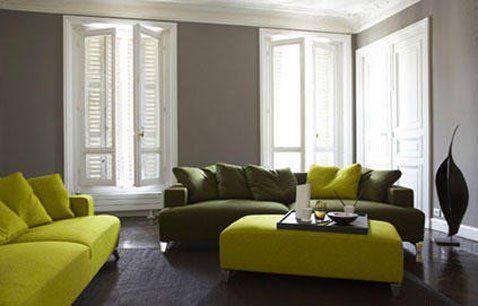 Déco salon mur taupe canapé vert anis et mousse my zyla