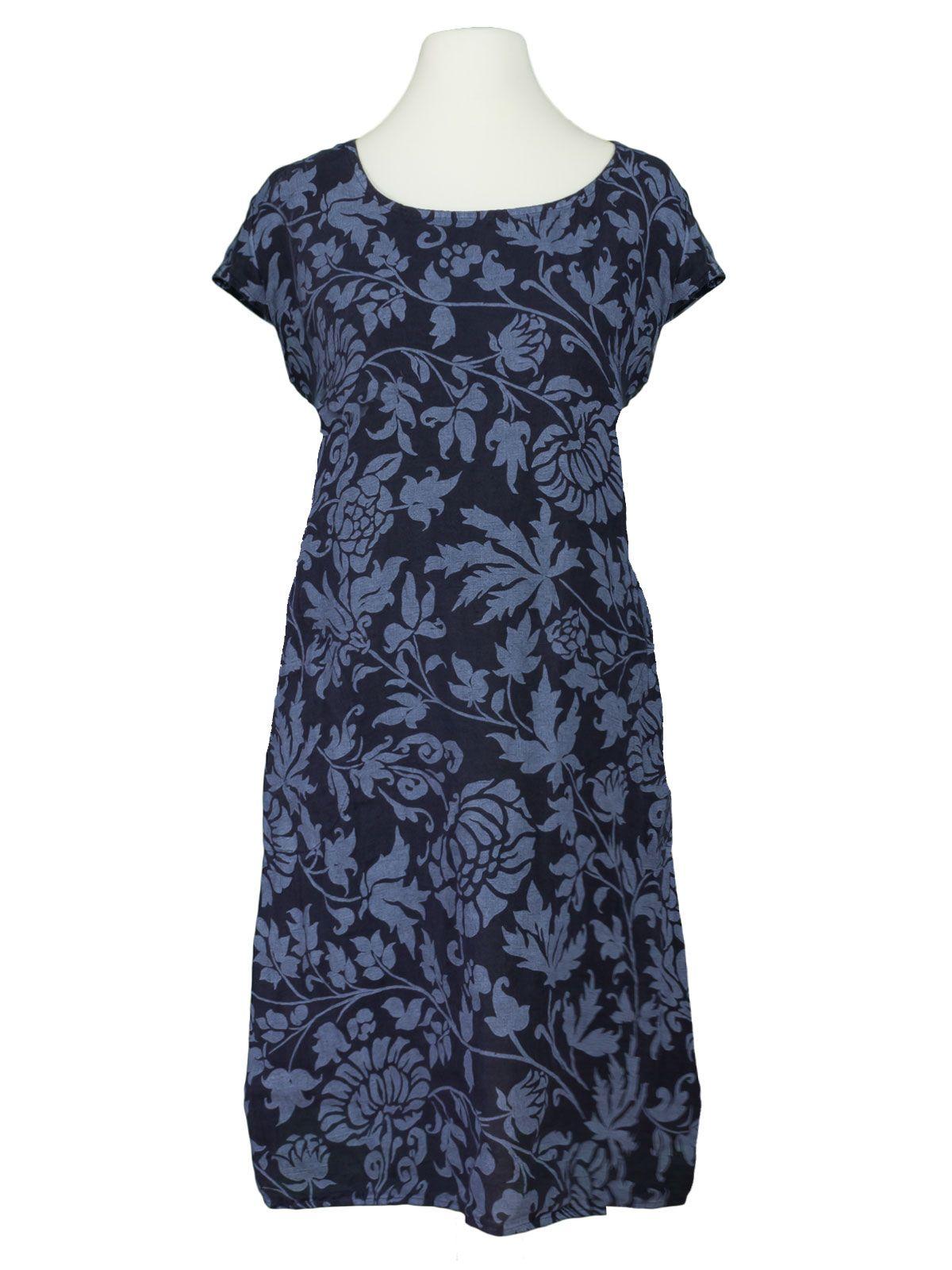 damen leinenkleid mit blütenprint, dunkelblau von diana