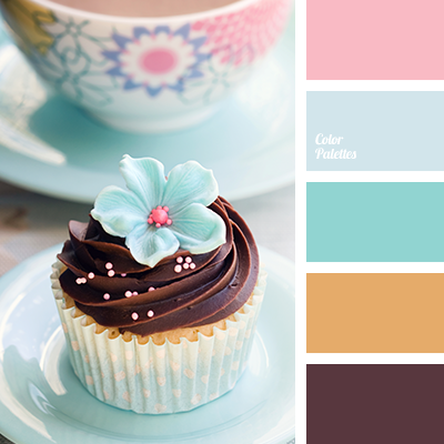 bright pink, brown, chocolate, color palette, light blue, mint