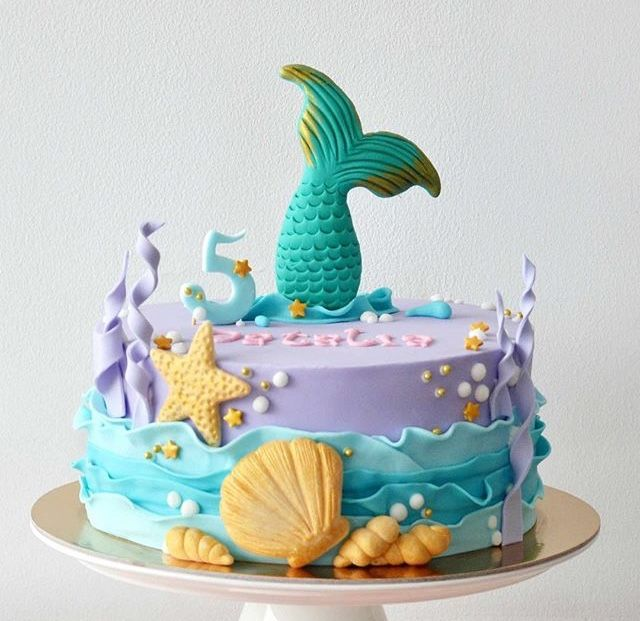 Adorable One Tier Mermaid Cake Mermaidlcake Mermaidbirthday