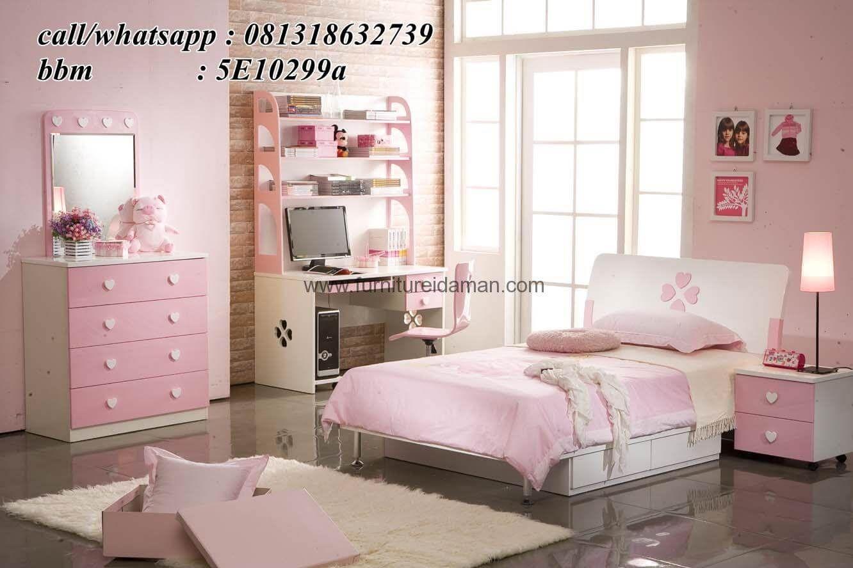 Set Tempat Tidur Anak Modern Minimalis Pink SKA-4 (Dengan gambar