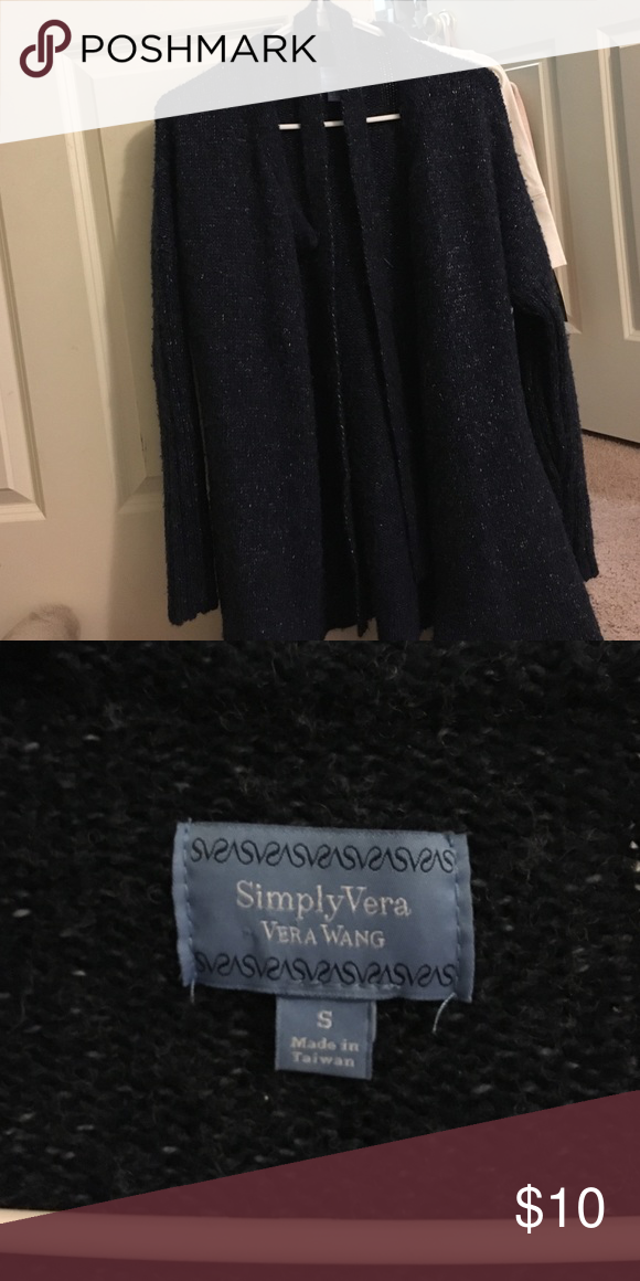 Simply Vera Long Navy Sweater Good condition, tie wraps around waist. 2 buttons at the top. Acrylic, polyester, wool blend. Simply Vera Vera Wang Sweaters