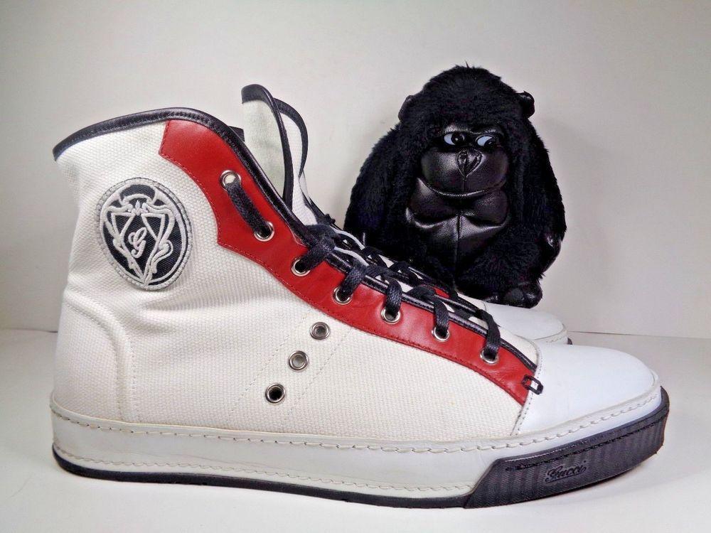 c786c006e67 Mens Gucci White Red Black Leather Trim Sneakers 194330 size 10 1 2  Gucci   AthleticSneakers