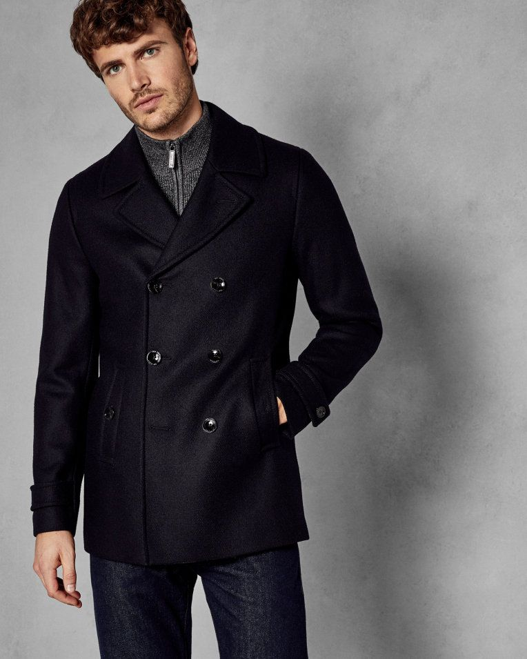 ted baker mens navy pea coat
