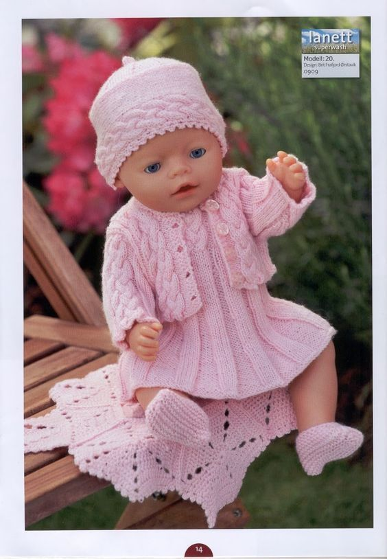 Pink Outfits For 14Inch DOLL In 4 Ply. Knitting Pattern For Dolls Blue D7