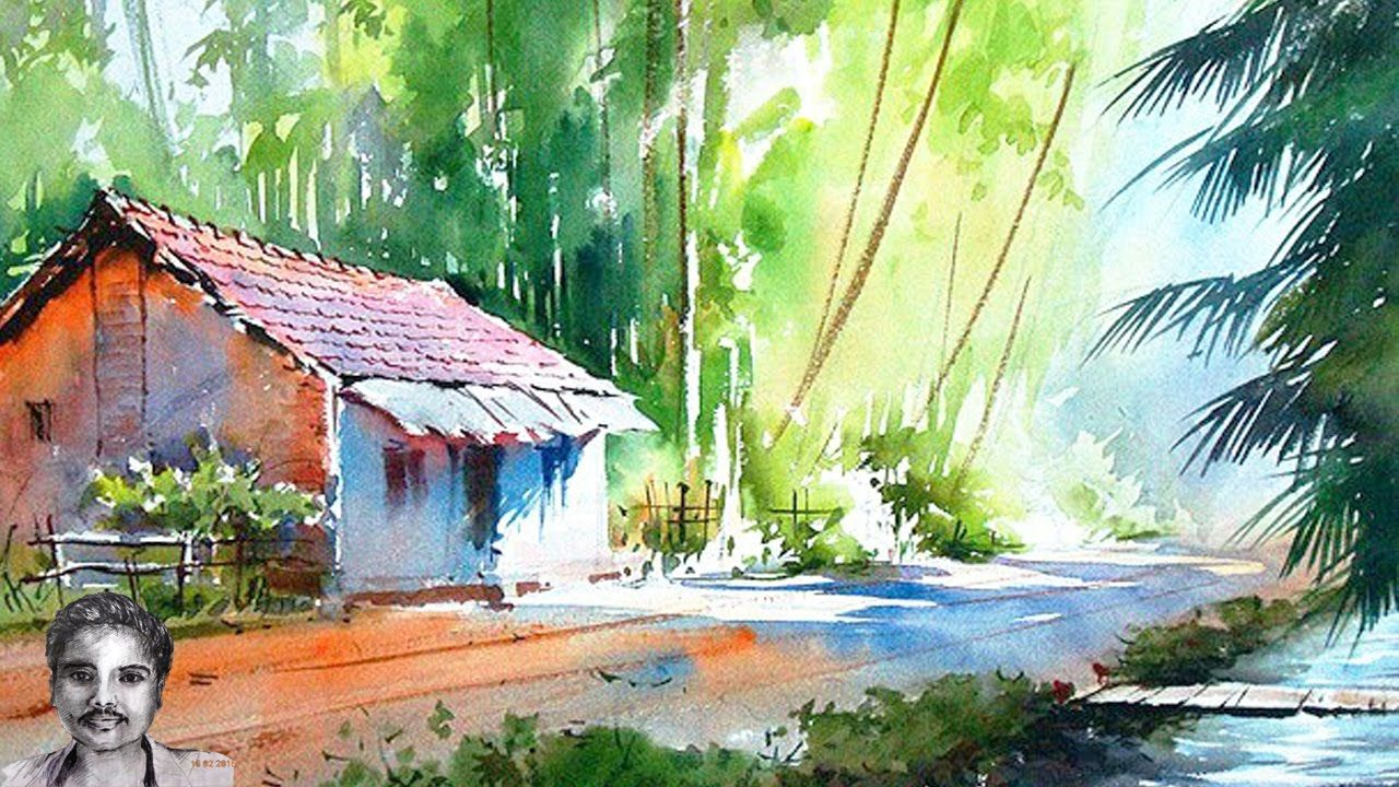 Watercolor Painting For Beginners Forest House Drawing With