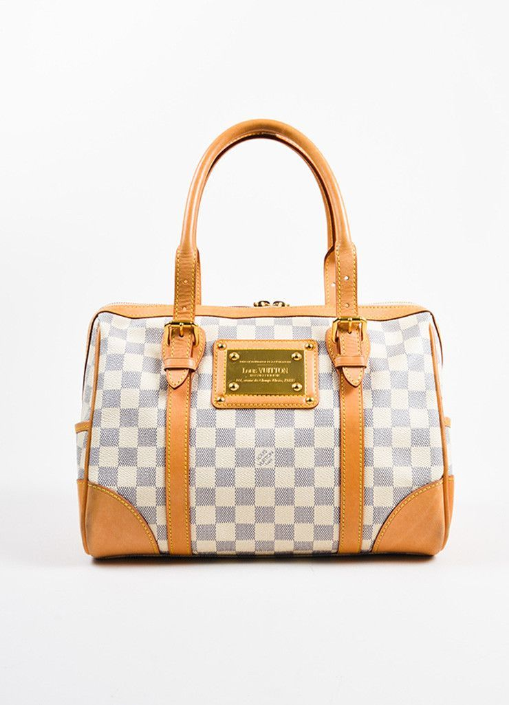 The Berkeley Handbag Is Constructed Of Louis Vuitton S Iconic Damier Coated Canvas In Azur Blue And Cream Smooth Tan Leather T Rolled Top